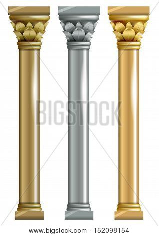 Set of three vector columns in the Oriental style. Gold, bronze, silver,