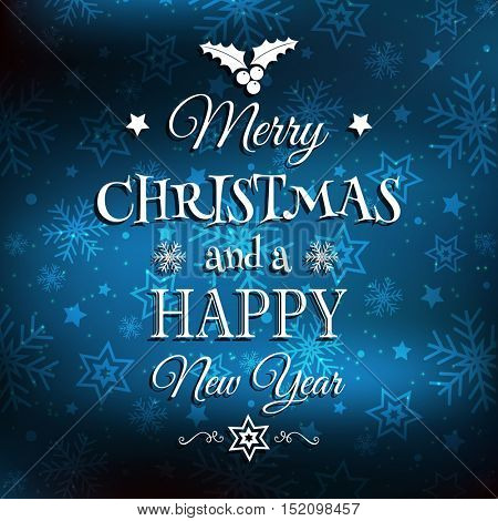 Christmas and New Year background with decorative type