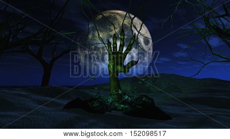 3D render of a spooky Halloween background with zombie hand erupting out of the ground