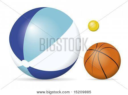 Uma imagem de uma bola de praia, bola de tênis e uma bola de basquete