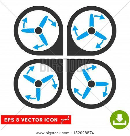 Copter Screws Rotation EPS vector icon. Illustration style is flat iconic bicolor blue and gray symbol on white background.