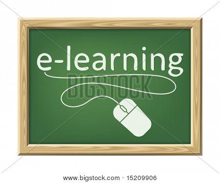 Uma imagem de uma placa de giz com o palavra e-learning e um rato