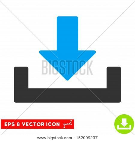 Download EPS vector pictograph. Illustration style is flat iconic bicolor blue and gray symbol on white background.
