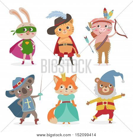 Cute animal kids in different costume. Set of cartoon animal kids in costume for party. Cartoon vector illustration