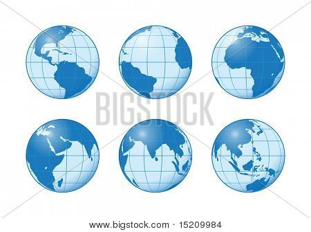 An image of six different earth globes blue