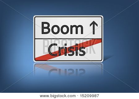 An image of a road sign with the words Crisis and Boom