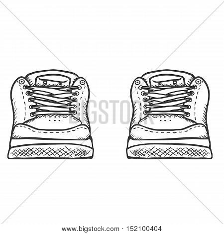 Vector Sketch Illustration - Pair Of Skaters Shoes. Front View
