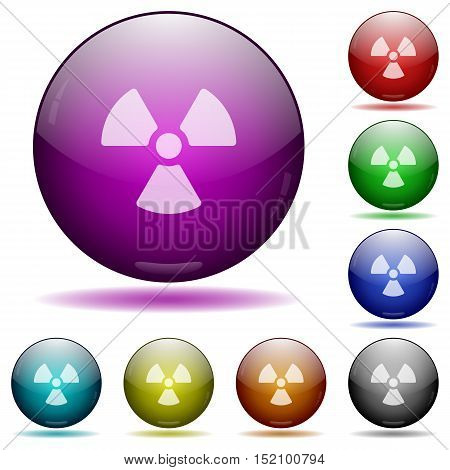 Set of color radiation glass sphere buttons with shadows.