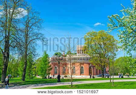 MOSCOW RUSSIA - MAY 10 2015: The Third Cavalry building in Tsaritsyno Royal Estate with scenic gothic decors on May 10 in Moscow.
