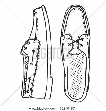 Vector Sketch Illustration - Pair Of Topsider Men Shoes. Top And Side View.