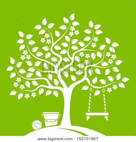 vector flowering tree with swing, bucket and ball isolated on green background