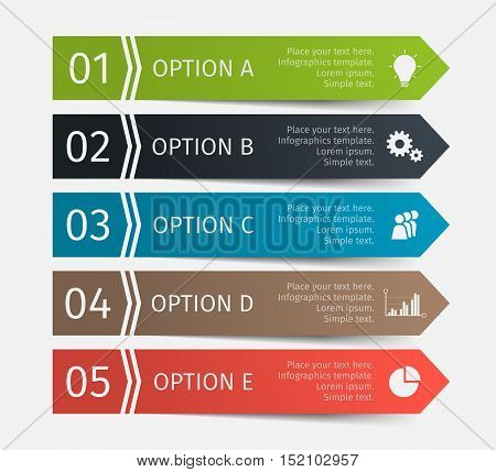 Colorful arrow design elements for business infographics. Vector template with 5 steps, parts, options, stages