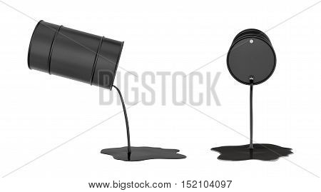 3d rendering of oil pouring from black barrels side and front views isolated on white background. Petroleum industry. Waste of resources. Gasoline production.