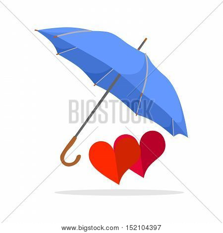 the illustration with the umbrella and hearts.