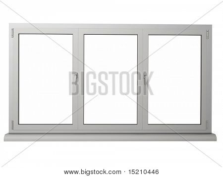 two layers and three frame plastic window isolated on white