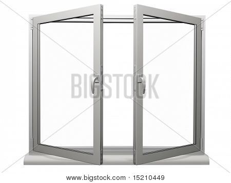 two frame open plastic window isolated on white