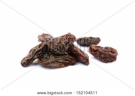 Sweet dried raisins isolated with white background