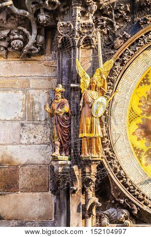 Prague astronomical clock in the building of the Old Town Hall. Prague, Czech Republic. Details of the facade closeup