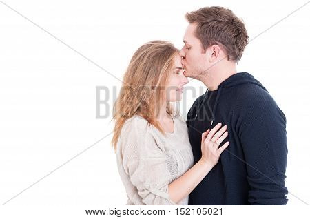 Man Kissing On Forehead Her Beautiful Lady