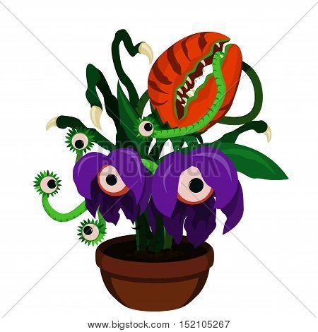 Vector illustration of cartoon scary monster plants in flower pot. Predator plants.