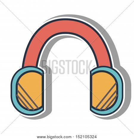 headphones music device icon over white background. vector illustration