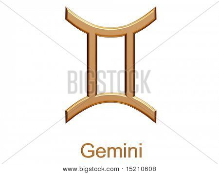 gemini - golden astrological zodiac symbol isolated on white