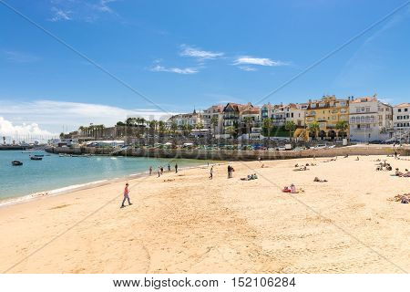 Beach At The Bay Of Cascais, A Portuguese Town