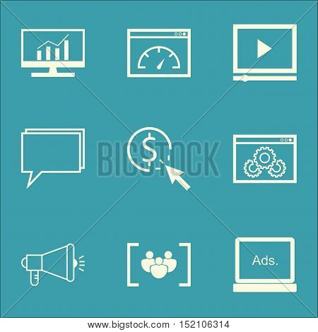 Set Of Seo Icons On Media Campaign, Website Performance And Ppc Topics. Editable Vector Illustration