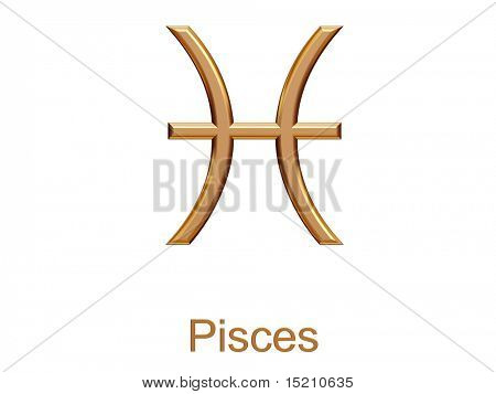 pisces - golden astrological zodiac symbol isolated on white