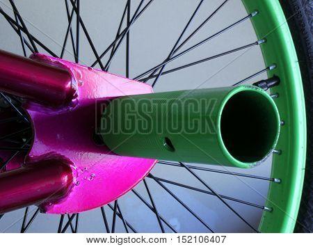 green bike peg in a trick bike