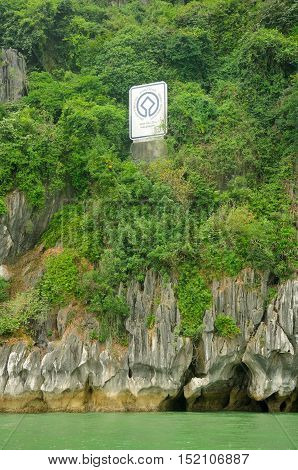 The world heritage sign for Vinh ha long or Ha Long Bay in Vietnam.