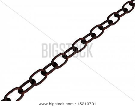 rusted chain isolated on white