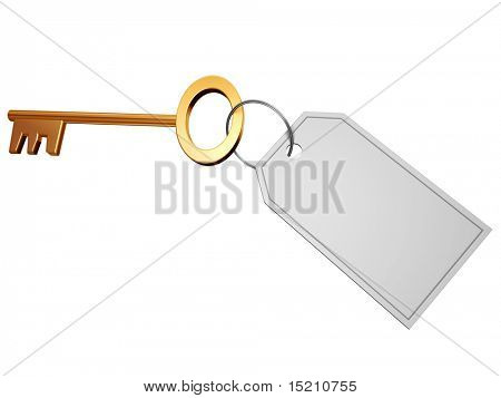 golden key with blank tag isolated on white