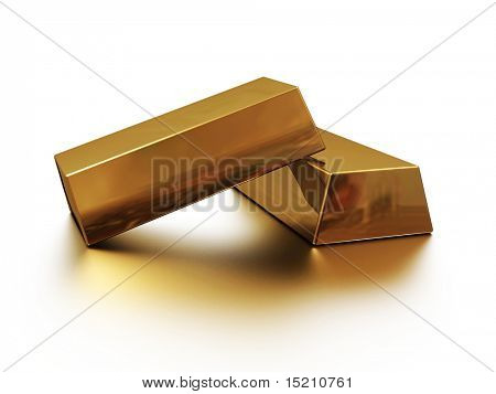 two gold bars with reflection