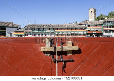 Chinchon Spain - October 15 2016: Detail of burladeros Traditional bullfighting stamp in the main square of chinchon during the festival charity Chinchon Madrid province Spain