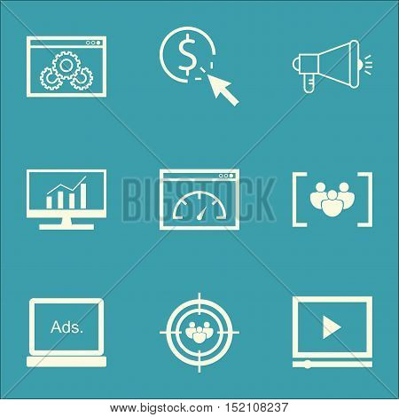 Set Of Advertising Icons On Media Campaign, Video Player And Digital Media Topics. Editable Vector I