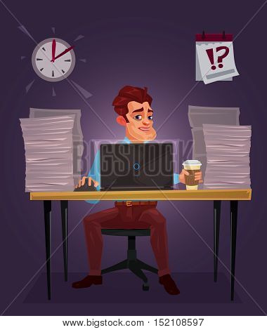 Vector illustration of a man working on the laptop at a table littered with papers