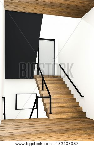 3D rendering : illustration of stair zone step up to next floor in a spacious apartment