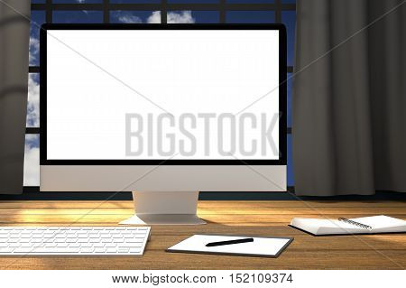 3D Rendering : illustration of workplace mockup.PC monitor on wooden table with modern feel.dark gray curtain and glass window with blue sky outside.clipping path included
