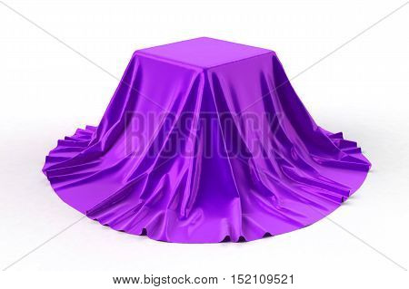 Box covered with violet fabric. Isolated on white background. Surprise, award, prize, presentation concept. Showroom stand. Reveal a hidden object. Raise the curtain. 3d illustration.