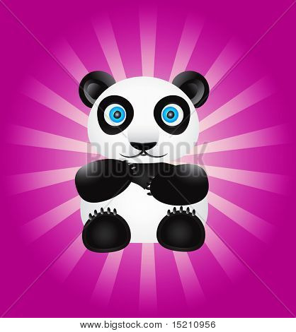 vector panda bear on colored background