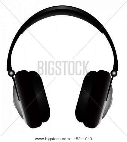 vector black headphones on white