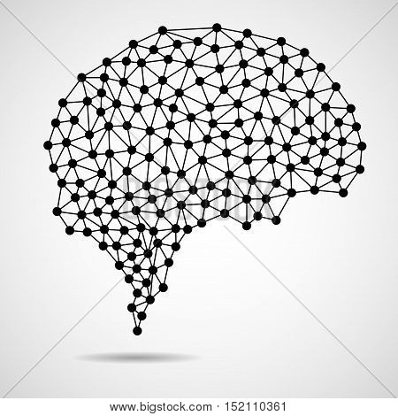 Abstract human brain from dots and lines network connections