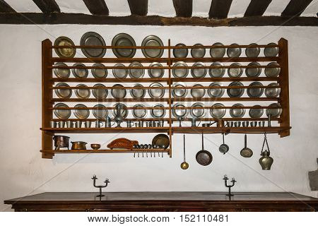 Braubach Germany - May 23 2016: Kitchen in the Marksburg castle. It is one of the principal sites of the UNESCO World Heritage Rhine Gorge.