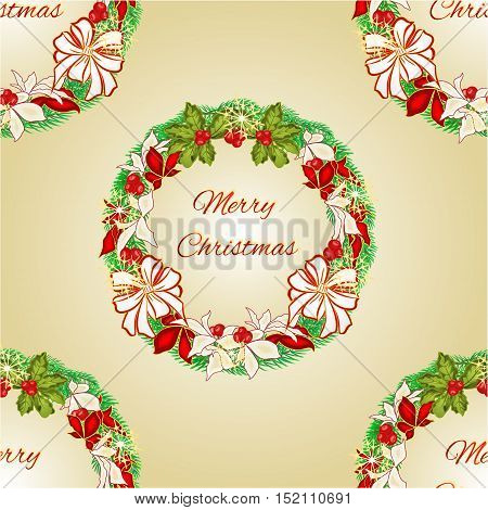 Seamless texture Merry Christmas Wreath with white bows and poinsettia vector illustration