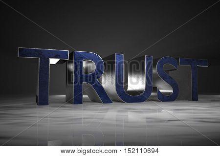 3D Rendering : illustration of TRUST word with metallic texture