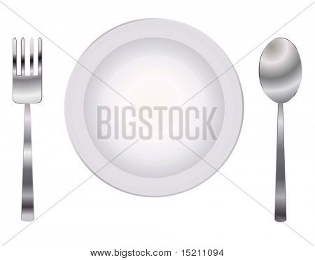 vector plate with spoon and fork
