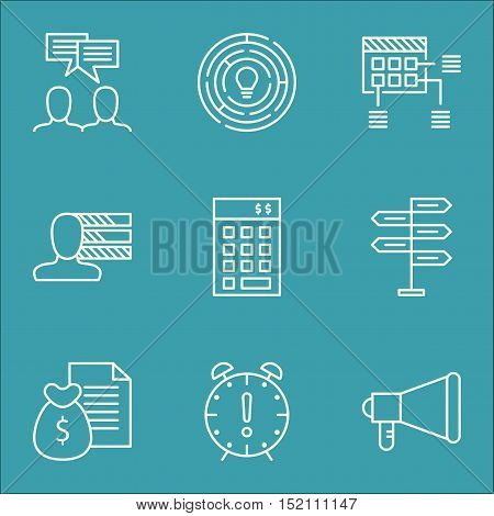 Set Of Project Management Icons On Time Management, Innovation And Discussion Topics. Editable Vecto