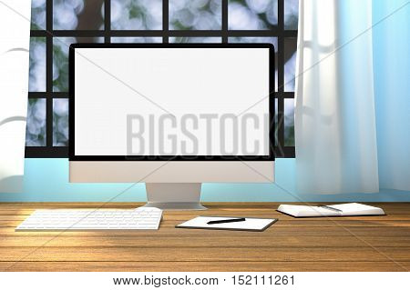 3D Rendering : illustration of workplace mockup.PC monitor on wooden table with comfortable feel.translucent curtain and glass window with blurred nature outside.clipping path included