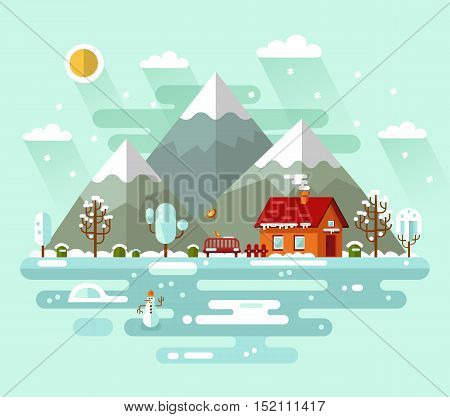 Flat design vector nature winter landscape illustration with house, fence, pond, snowman, bench, sun, mountains, birds, clouds, trees, snow, snowflakes, snowfall, snowdrift, icicles.